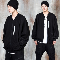Reflective tape accent oversized zip-up jacket
