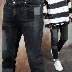 Square contrast washed denim jeans