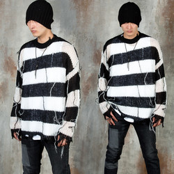 Distressed stripe see-through knit sweater