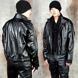 Button-up black leather jacket