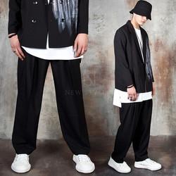 Pintuck wide-leg pants