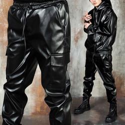Black leather cargo pants