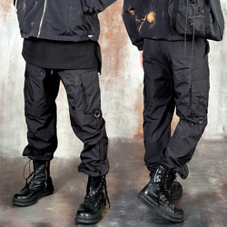 Side cover layered string baggy pants