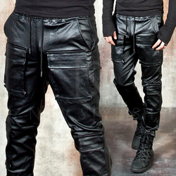 Coated black double cargo pants