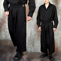 Double belted wide pants