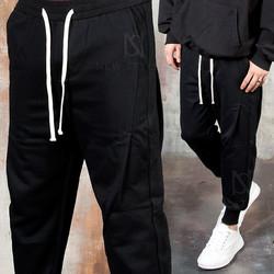 Diagonal pintuck baggy jogger pants
