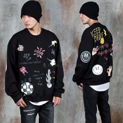 Multiple print accent sweatshirts