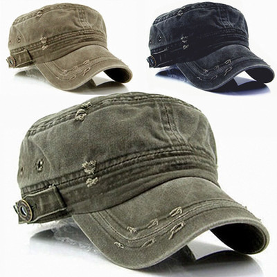 Vintage Washed Military Short Brim Hat