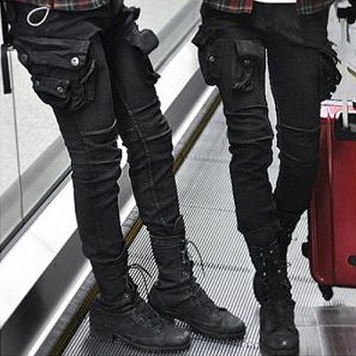 Wax Coated Oil Cargo Skinny Jeans