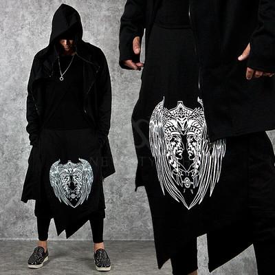 Asymmetric wrap skirt layered lettering black sweatpants