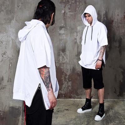 side zipper short sleeves hoodie