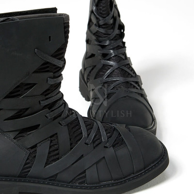 mesh zigzag leather high top boots