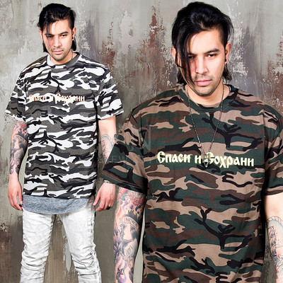 neon lettering camouflage round t shirts
