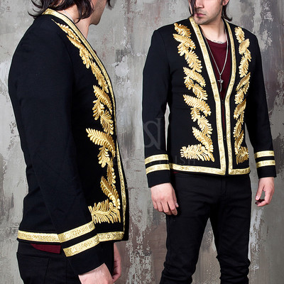 gold laurel embroidered black jacket