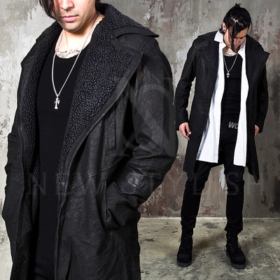 Distressed leather slim shearling coat