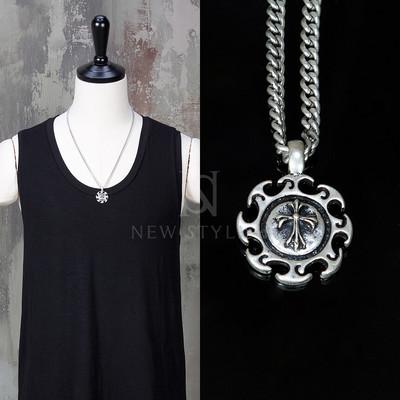 Sun sew cross charm metal chain necklace