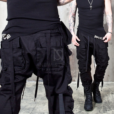 wrinkled cargo pocket webbing black pants