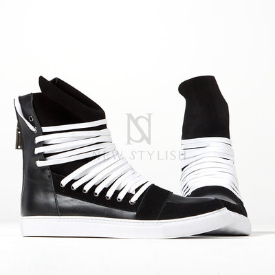 Overlaced hightongue zipper high-top sneakers