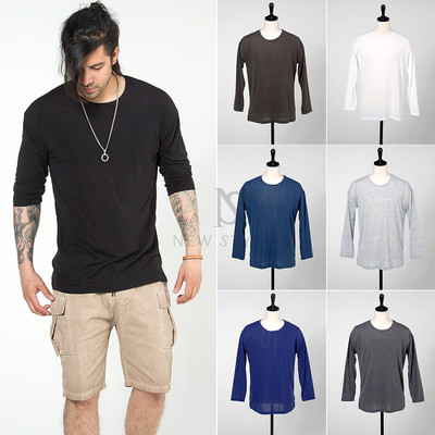 Basic cotton long sleeves t-shirts