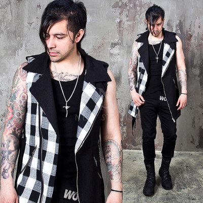 checkered contrast cotton rider vest
