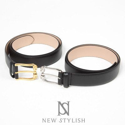 Small skull buckle genuine leather belt