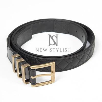 Gold metal buckle leather contrast black belt