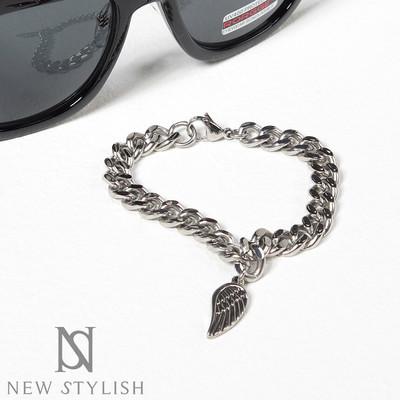 Angel wing charm metal curb link bracelet