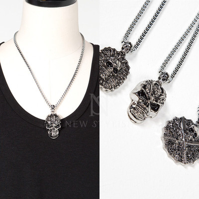 3 different types of skull pendants metal necklace