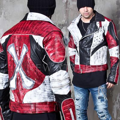 distressed rock star leather biker jacket