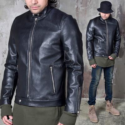 Mandarin collar black leather jacket