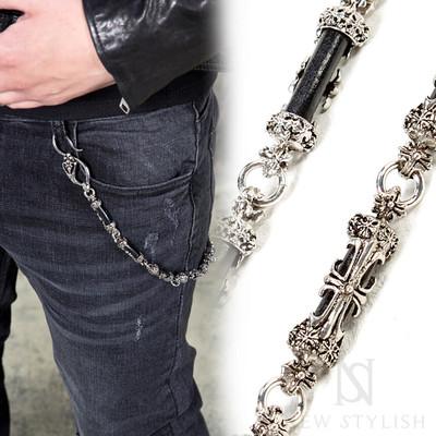 Antique metal cross wallet chain