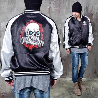 Contrast skull printed sukajan jacket
