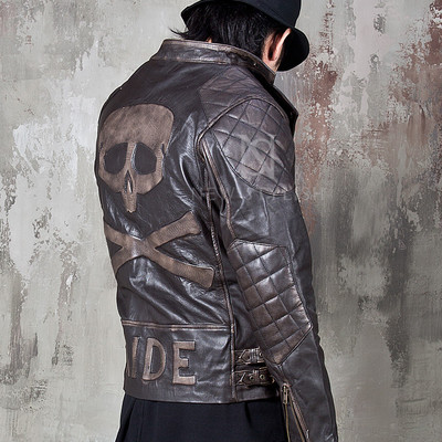 The skull ride distressed brown leather biker jacket