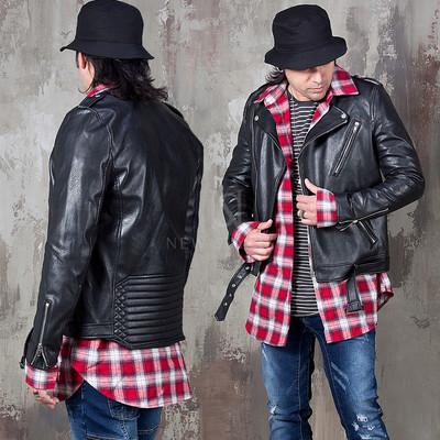 Embossed back bottom hem belted leather rider jacket