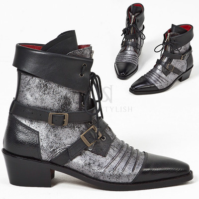 Distressed silver leather vampire western ankle boots