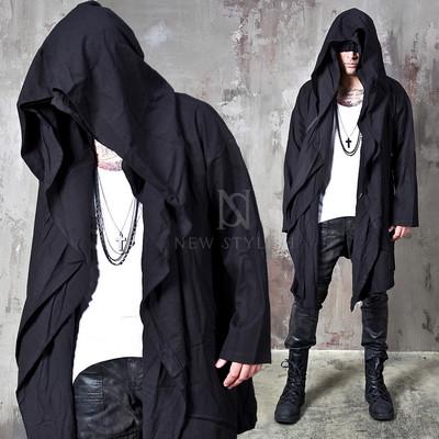 Avant-garde double big hooded black coat