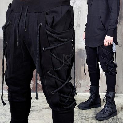Eyelet rope black bending pants