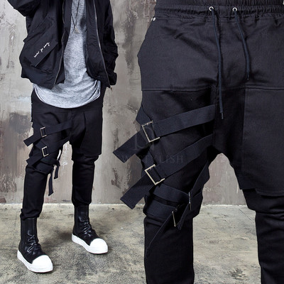 4 webbing belt black bending pants