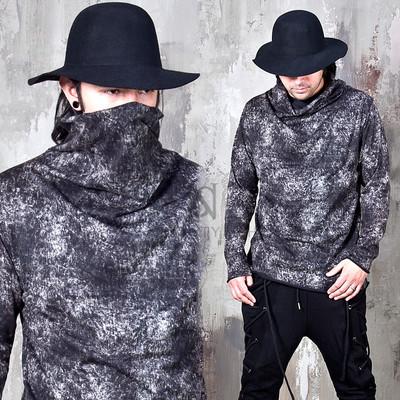 Artistic smoke pattern turtle neck shirts