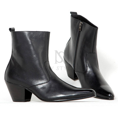 Black leather western high heel boots