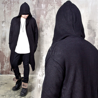 Hooded knit open long cardigan