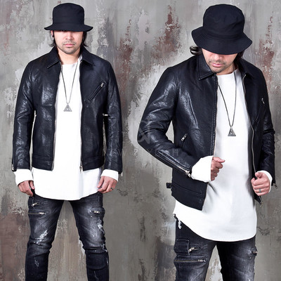 Simple washed leather rider jacket