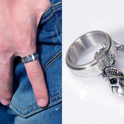 Engraved Roman numerals ring