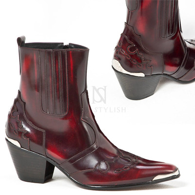 Grunge wine kill heel western leather boots