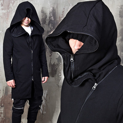 Double Layered big hooded diagonal zip-up hoodie