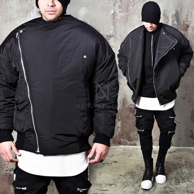 Diagonal zip-up oversized fit padded jacket