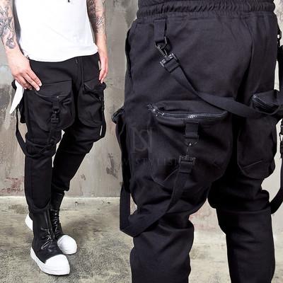 belted webbing 4 pocket black bending pants