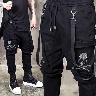 Webbing strap cubic skull black bending pants