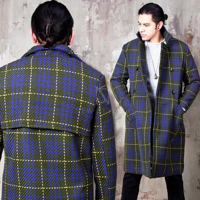 Stitch checkered unique back double long coat