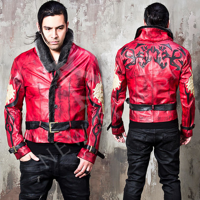 Oriental vibe fur collar distressed red leather jacket